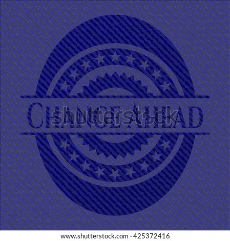 Change Ahead badge with denim texture