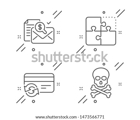 Change card, Accounting report and Puzzle line icons set. Chemical hazard sign. Payment method, Check finance, Engineering strategy. Toxic death. Business set. Line change card outline icon. Vector