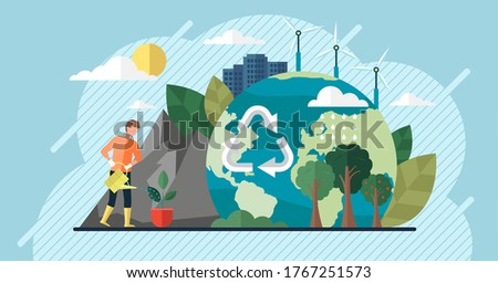 Change climate concept. Vector of climate change and saving the planet, World Environment Day, bio technology, a city on planet. Recycling waste, growing plants and choosing renewable resources