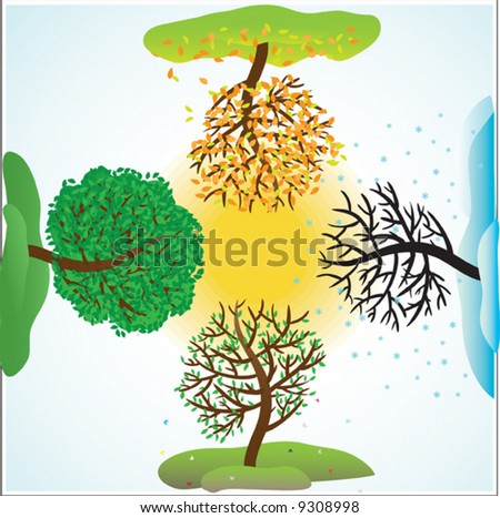 stock vector : Change of seasons of year. Vector illustration