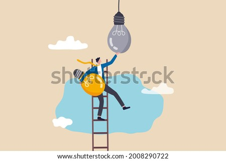 Change to new innovation, transform to new business, solution to disrupt or replace old model with bright technology concept, success businessman leader climb up ladder to change lightbulb idea. ストックフォト ©