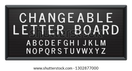 Changeable letter board with white plastic letters. Black plastic frame for messages, quotes or mugshot. Universal advertising mockup for banner, poster, menu or sign.