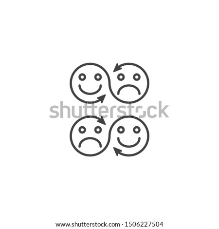 Changing emotions, moody, mood booster. Vector icon template