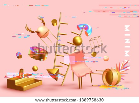 Chaos abstract background with 3d objects. Realistic geometric shapes. Design mess. Backdrop with geometric elements and levitation effect. Graphic digital glitch