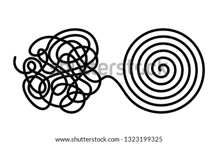 Chaos and disorder turns into a formed even tangle with one line. Chaos and order theory. flat vector illustration isolated on white background