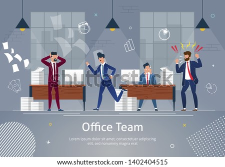 Chaos at Workplace. Office Team in Panic. Angry and Annoyed Businessmen at Work Office Banner. Stressed Worker at Table Character in Desperation. Screaming Cartoon Male Boss or Employer.