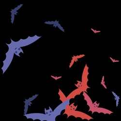 Chaos Red Pink Black Art Flying Bats Fabrics. Purple Gothic Eyes Scary Sky Bats Vector Illustration. Motion Print Night Colorful Halloween Modern Design. Attack Creepy Retro Spooky Wallpaper.