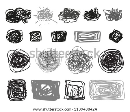Chaos shapes for design. Abstract tangled textures. Random chaotic lines. Hand drawn dinamic scrawls. Black and white illustration. Backgrounds with stripes. Universal pattern. Art creative