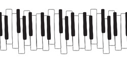 Chaotic Pianoforte musical grand piano octaves, sketch  drawing. Vector seamless doodle pattern with hand drawn piano, harpsichord  keys. Musical octave, notes in musical  Western scale
