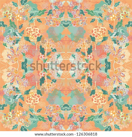 chaotic summer floral seamless pattern
