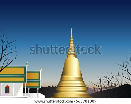 chapel and pagoda in deep forest