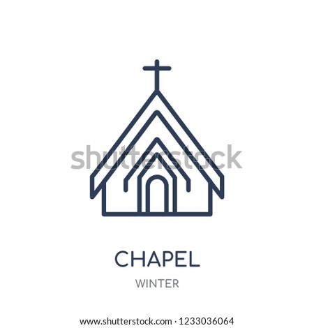 Chapel icon. Chapel linear symbol design from winter collection. Simple outline element vector illustration on white background