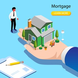 Character Buying Mortgage House and Shaking Hands with Real Estate Agent.