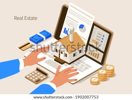 Character Buying new Home with Mortgage Approval Documents on Screen. People Invest Money in Real Estate Property. House Loan, Rent and Mortgage Concept. Flat Isometric Vector Illustration.