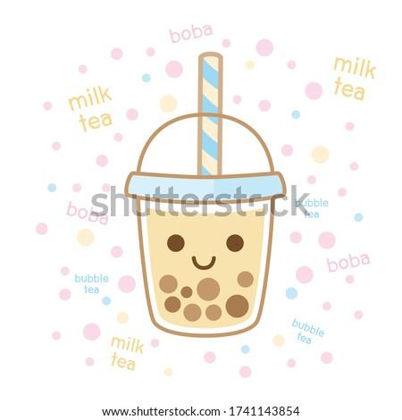 Character Cartoon love Boba Bubble Milk Tea, Pearl milk tea, Yummy drinks, Taiwan milk tea, Boba Bubble Milk Tea, Cute Sticker, Vector Illustration