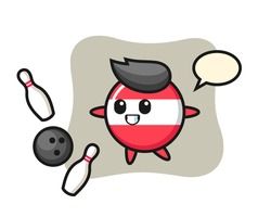 Character cartoon of austria flag badge is playing bowling, cute style design for t shirt, sticker, logo element