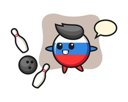 Character cartoon of russia flag badge is playing bowling, cute style design for t shirt, sticker, logo element