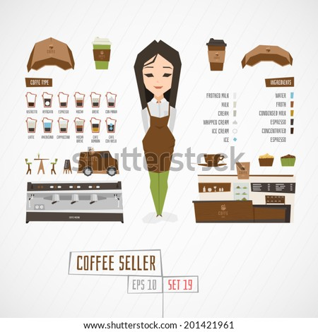 Character coffee seller vector illustration
