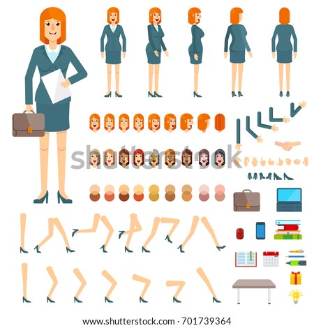 Character creation set businesswoman. Flat vector cartoon illustration. Objects isolated on a white background.
