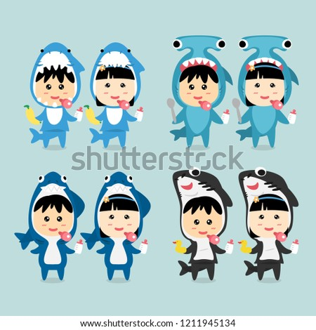 Character Design Cute Kids wearing Shark Costume Set, Vector Illustration.