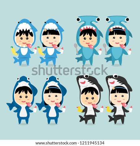 Character Design Cute Kids wearing Shark Costume Set, Vector Illustration.