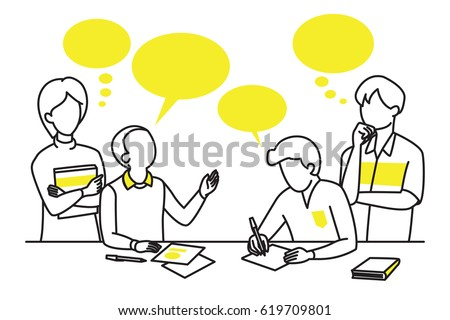 Character design of student discussing and brainstorming, sharing idea. Line icon, sketching, drawing, simple design. Education concept.