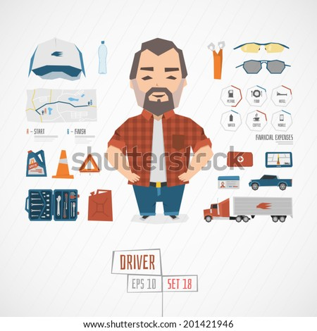 Character driver vector illustration