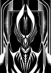 Character fantasy, Dark Lord, ruler, warrior, without eyes, in large armor, with long bones neck and broad shoulders, with big elongated crown on his head, on black background, with a portal and arch.
