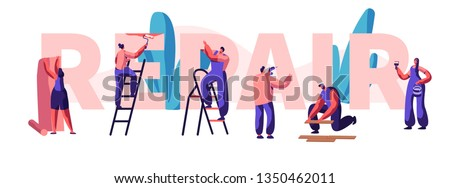 Character Fix House, Office or Shop Banner. Diagnosis and Repair of Problem in a Home. Glues Wallpaper and Paints the Wall. Man Restoring Something. Flat Cartoon Vector Illustration