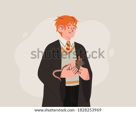 Character from Harry Potter books Ron Weasley. Young magician or wizard in Hogwarts and Gryffindor uniform holds a rat in his hands. Cute print or greeting card. Foto stock ©