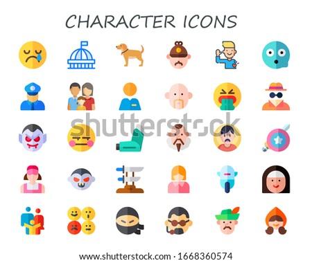 character icon set 30 flat