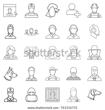 Character icons set. Outline set of 25 character vector icons for web isolated on white background