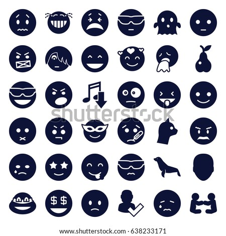 character icons set set of 36