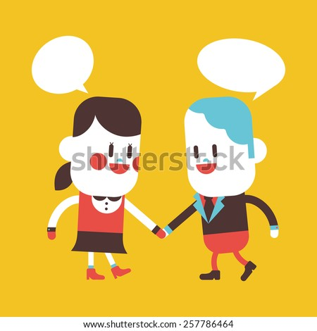 Character illustration design. Girl and boy talking cartoon,eps