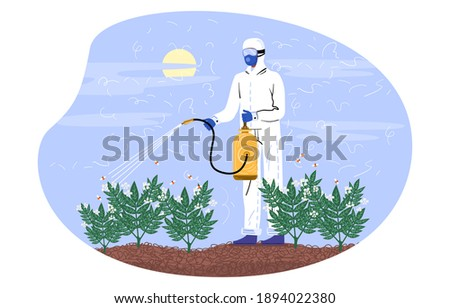 Character in special costume spraying pesticides. Farmer spraying pesticide chemicals on plants in garden. Pest control worker man with spray equipment. Flat cartoon vector illustration