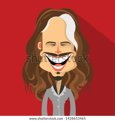 character in suit with long hair and mustache