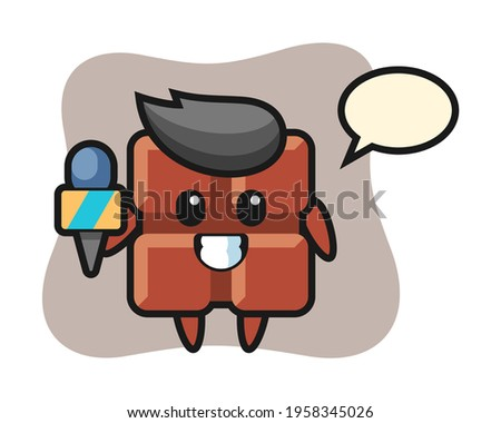 Character mascot of chocolate bar as a news reporter, cute style design for t shirt, sticker, logo element Foto stock ©