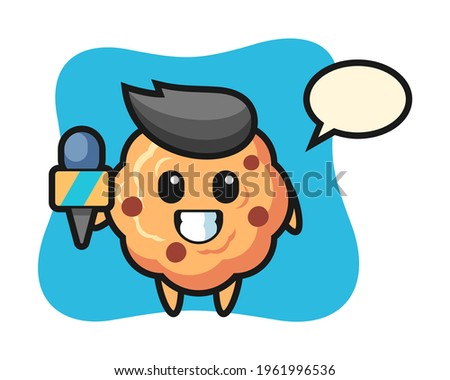 Character mascot of chocolate chip cookie as a news reporter, cute style design for t shirt, sticker, logo element Foto stock ©