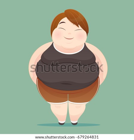 Character of an overweight woman dressed in sportswear on green background. illustration of a fat people figure, Concept with Cartoon and Vector