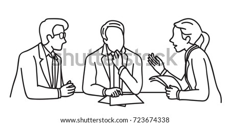 Character of business people meeting at table, business concept in discussion, presentation, planning, cooperation. Outline, linear, contour, thin line art, doodle, hand drawn sketch design.