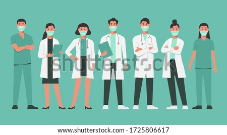 character of doctors and nurses wearing a surgical face mask and standing together to fight COVID-19, male and female medical characters set cartoon flat vector illustration