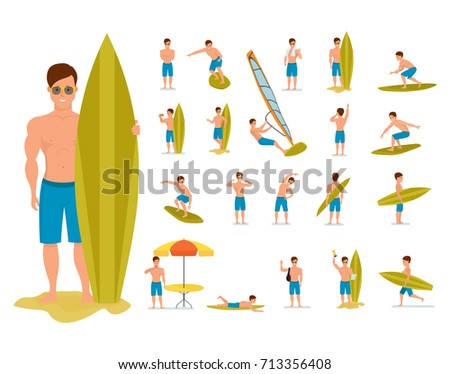 Character person surfer man. Surfer set in various poses and situations. Summer vacation on the sea and the beach. Recreational beach water sport. Surf travel. Character person. Vector illustration