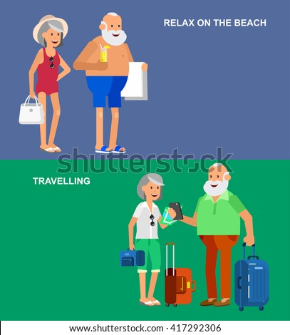 Character senior, age travelers. Old age retired tourists couple. Elderly couple having summer vacation, tourists with map and gadget, in swimsuits go on beach