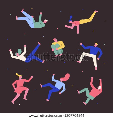 Character set floating in my dreams. flat design style vector graphic illustration. #1209706546