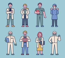 Character set of doctors in various uniforms. flat design style minimal vector illustration.