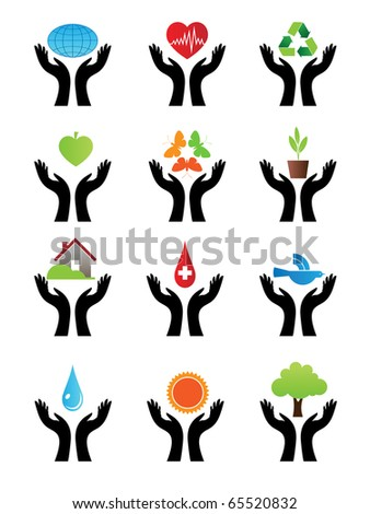 Character set of signs with both hands on the color. Vector.