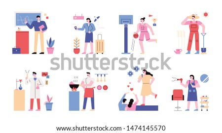 Character set of various occupations. Decoration illustration to match with character. flat design style minimal vector illustration.