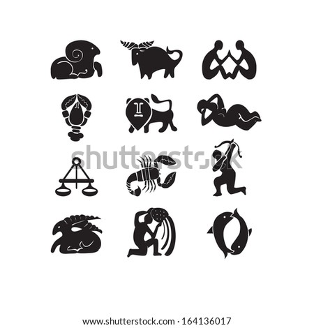 Character set of zodiacal signs. All  twelve constellations  are  presented in a set of symbols.