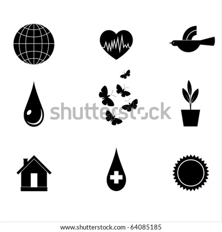 Character set on the ecology of black and white. Vector.