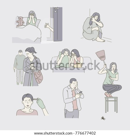 Character showing various situations of fear hand drawn style vector doodle design illustrations.